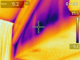 Cold spot from insulation void in vaulted ceiling